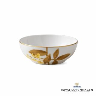 【Royal Copenhagen 皇家哥本哈根】骨瓷碗14cm(芙蘿拉花神-金鏈花)