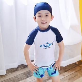 【小衣衫童裝】男童清爽二件式短袖泳衣泳褲送泳帽(1070604)