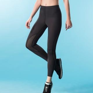 【Wacoal 華歌爾】專業運動  M-3L 長版壓力褲-吸濕快乾-階段式加壓(活力黑)