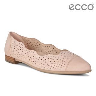 【ecco】SHAPE POINTY BALLERINA 雕花蕾絲氣質娃娃鞋(裸粉 26294302118)