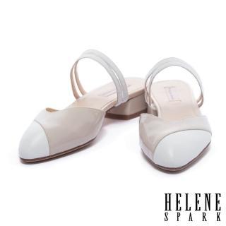 【HELENE SPARK】復古撞色異材質拼接尖頭繫帶低跟拖鞋(米)