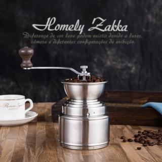 【Homely Zakka】極簡大容量儲粉槽304不鏽鋼手搖式咖啡磨豆機/研磨機(附防跳豆矽膠擋片)