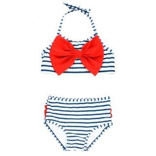 【美國 RuffleButts】小女童無袖比基尼泳裝_紅蝴蝶結條紋(RBSW10-06)