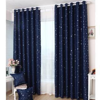 【巴芙洛】滿天亮星星打孔式落地遮光窗簾(大窗150*210公分)