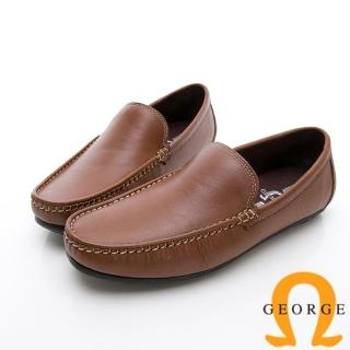 【GEORGE 喬治皮鞋】舒適系列 經典素面樂福鞋休閒鞋-棕