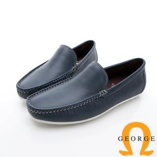 【GEORGE 喬治皮鞋】舒適系列 經典素面樂福鞋休閒鞋-寶藍