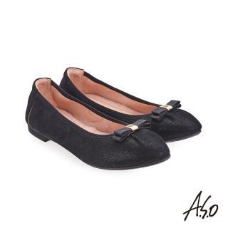 【A.S.O 阿瘦集團】輕履鞋 蝴蝶結羊絨皮可折疊娃娃鞋(黑色)