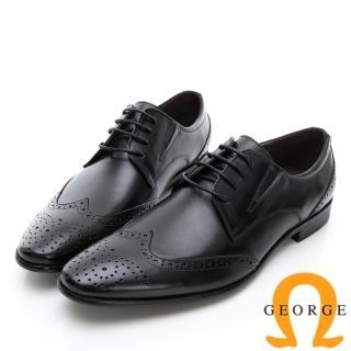 【GEORGE 喬治皮鞋】商務系列 雕花綁帶紳士皮鞋-黑