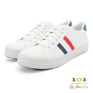 【101玩Shoes】mit.亮麗白皙綁帶運動休閒鞋(白藍色.36-40號)