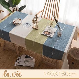 【La Vie】韓版藍綠格子流蘇亞麻復古繡花桌布(140X180cm)
