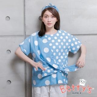 【betty's 貝蒂思】復古點點綁結上衣(淺藍色)