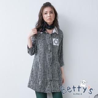 【betty's 貝蒂思】直線水波紋長版雪紡襯衫(黑色)