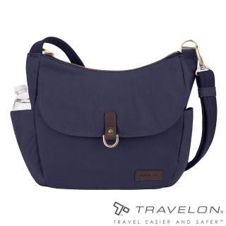 【Travelon美國防盜包】COURIER防盜RFID防割鋼網斜背托特包(TL-33303-18靛藍/休閒旅遊/生活日常包款)