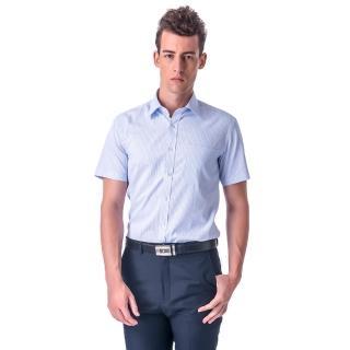 【金安德森】白底藍條紋窄版短袖襯衫