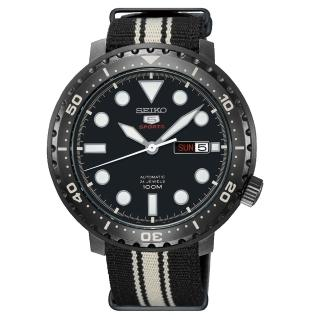 【SEIKO 精工】5號盾 罐頭造型運動機械錶-黑(4R36-06N0X/SRPC67J1)