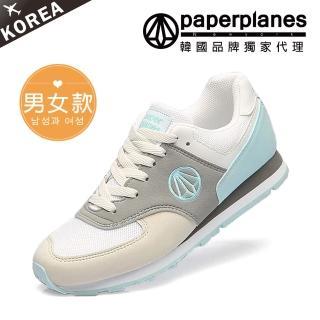 【Paperplanes】正韓製/正常版型。男女款輕量透氣撞色慢跑休閒鞋(7-1336綠白/現+預)