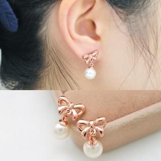 【梨花HaNA】韓國無耳洞可愛女人優雅蝴蝶結珍珠耳環(耳夾)