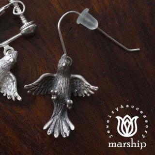 【Marship】日本銀飾品牌 鸚鵡耳環 展翅飛翔款 925純銀 古董銀款 針式耳環(耳環)