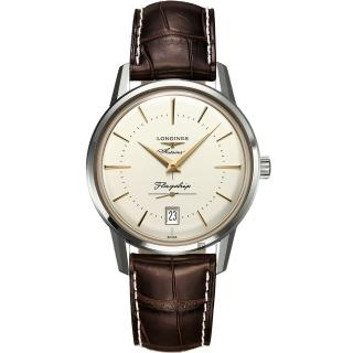 【LONGINES 浪琴】Heritage 旗艦復刻小秒針機械錶-米x咖啡/38.5mm(L47954782)