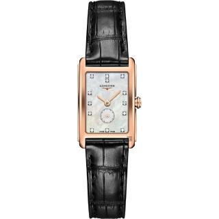 【LONGINES 浪琴】DolceVita 18K 真鑽小秒針石英錶-珍珠貝x黑/20mm(L52558870)