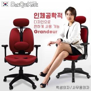 DonQuiXoTe 韓國原裝Grandeur雙背透氣坐墊人體工學椅-綠