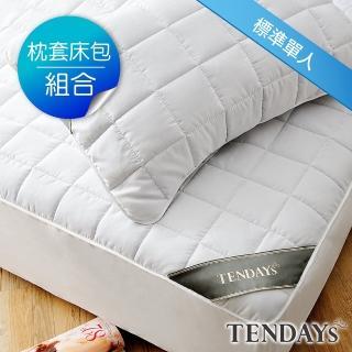 【TENDAYS】備長炭床包型保潔墊枕套床包組合(單人兩件組-3尺+枕套X1)