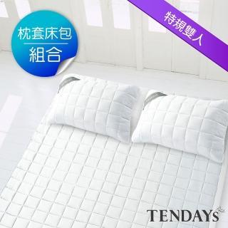 【TENDAYS】備長炭床包型保潔墊枕套床包組合(特規雙人三件組-7尺+枕套X2)