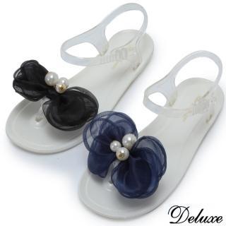 【Deluxe】青春氣質網紗珍珠花夾腳涼鞋(黑☆藍)