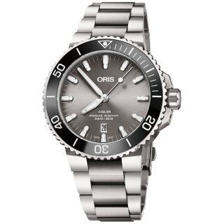 【ORIS 豪利時】水鬼 Aquis 時間之海鈦合金潛水300米日期機械錶-43.5mm(0173377307153-0782415PEB)