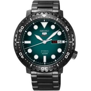 【SEIKO 精工】精工5號系列 復刻運動機械錶-綠x鍍黑x/44mm(4R36-06N0SD  SRPC65J1)
