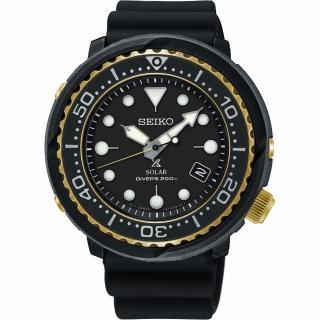 【SEIKO 精工】PROSPEX SCUBA 太陽能200米潛水錶-金圈x黑/46.7mm(V157-0CX0X  SNE498P1)