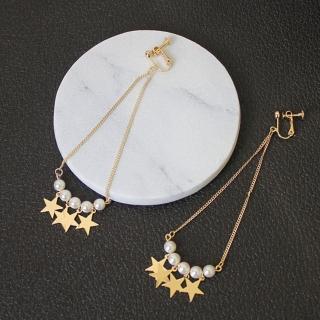 【Angel】日系少女可愛珍珠星星鍊條垂墜無洞耳夾式耳環(金色)