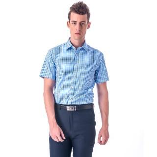 【金安德森】藍色小格紋窄版短袖襯衫-fast