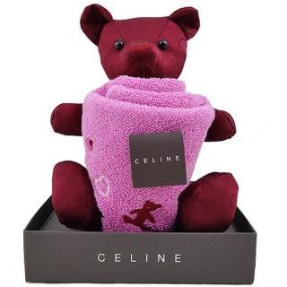 【CELINE】經典圖紋小熊&方巾禮盒(紅色)