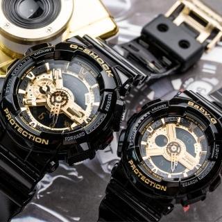 【CASIO 卡西歐】G-SHOCK & BABY-G 霸氣黑金情人對錶(GA-110GB-1ADR_BA-110-1ADR)