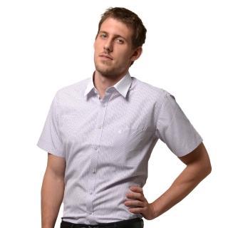 【金安德森】白領藍黃格紋窄版短袖襯衫-fast