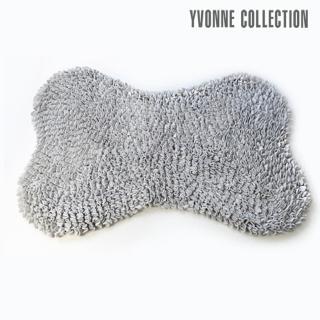 【Yvonne Collection】法蘭絨素色骨頭地墊60x90cm(暗灰)