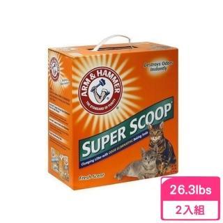 【ARM&HAMMER 鐵鎚】超強凝結清香貓砂 26.3LB(2入組)