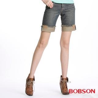 【BOBSON】女款反摺牛仔短褲(132-53)
