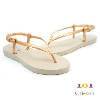 【101玩Shoes】mit. 簡約防水夾腳便利涼鞋(金色.36.38.40號)