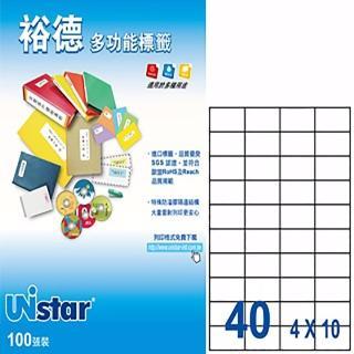 【Unistar 裕德】3合1電腦標籤 US4461(40格 100張/盒)