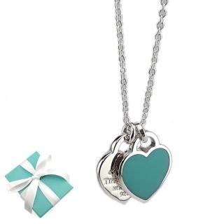 【Tiffany&Co. 蒂芙尼】心心相映迷你吊牌墜飾925純銀粉藍瓷項鍊