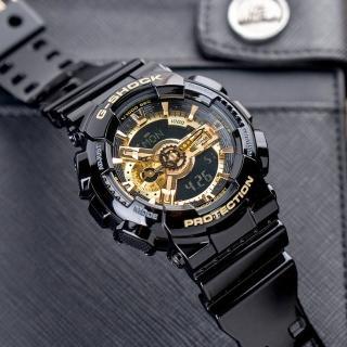 【CASIO 卡西歐】G-SHOCK 黑金時尚帥氣運動錶(GA-110GB-1ADR)