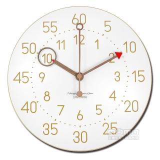 【時鐘】12吋 居家擺飾 輕薄簡約 北歐風 無印風 數字時標 餐廳客廳臥室 靜音 圓掛鐘(白色)