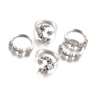 【RJNEWYORK】歐美波西米亞復古星星月亮水鑽戒指5件套組(白金色)
