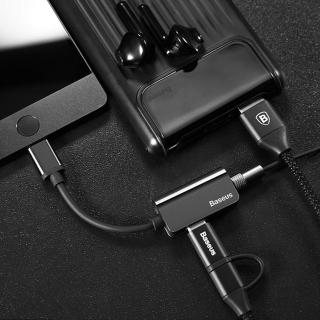 【BASEUS】倍思多功能Type-C公轉母+3.5mm音頻12cm轉接頭(黑色)