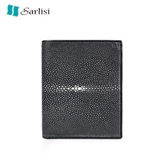 【Sarlisi】泰國磨珠珍珠魚皮皮夾短夾真皮錢包(錢包皮夾豎款)