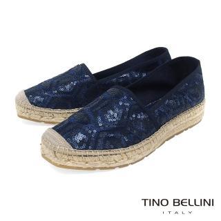 【TINO BELLINI 貝里尼】西班牙進口幾何藝術亮片刺繡麻編休閒鞋A83016(藍)