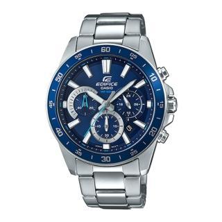 【CASIO 卡西歐】EDIFICE 立體時刻三眼三圈不鏽鋼腕錶-藍面(EFV-570D-2AVUDF)