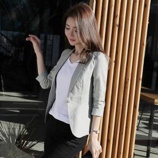 【BRIGA SING1801】BRIGA SING1801設計師款修身女士七分袖休閒棉麻小西裝女外套(SING1801)